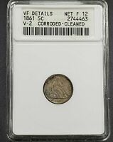 1861 Liberty Seated Half Dime Civil War Die Variety Coin ANACS VF Details V-2