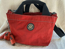 Vintage Kipling Red Nylon Sugar Satchel bag purse tote w/Camille monkey attached