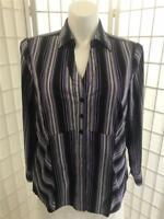 Women's Fred David 18/20W Black Purple Stripe Silky Button Blouse