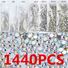 1440PCS 3D DIY Flat Back Nail Art Rhinestones Glitter Crystal Gems Tips Decor