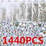 1440PCS Flat Back Nail Art Rhinestones Glitter Crystal Gems 3D Tips Decor DIY JT