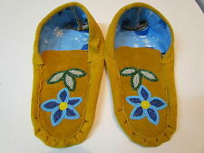 NATIVE AMERICAN MOCCASINS 9.5 INCHES LONG WITH BEADED FLOWER ON VAMP