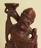 Chinese vintage Victorian oriental antique carved hardwood figurine C