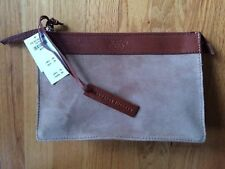 Abercrombie & Fitch Natural 100% genuine suede leather clutch bag purse NWT $78