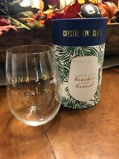 Ivy & Crown Crystal Stemless Wine Glass Gift Set I Live For Beaches & Brunch