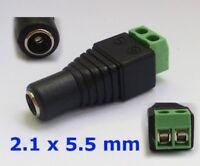 S484 - DC Buchse 2,1 x 5,5 mm Adapter mit Schraubklemme für z.B. Netzteil