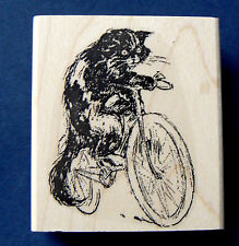 "Cat on bicycle rubber stamp vintage style WM 2x2.25""  P37"