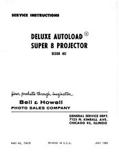 Bell & Howell 483 Deluxe Autoload Super 8 Movie Projector Service and Parts Manu