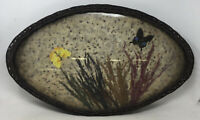 Vintage Wicker With Butterflies And Dried Flowers Under Glass Tray Boho
