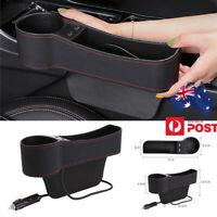 PU Leather Car Seat Gap Storage Box Cup Holder Dual USB Universal Left Side 1PCS