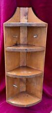 Vintage Wooden Corner Shelf - Curio -  Shabby Chic - Cottage Brown