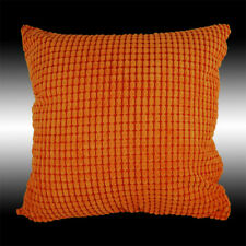 Simple Orange Soft Velvet Checked Decorative Throw Pillow Case Cushion Cover 17""