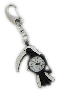 Black & White Parrot Bird With white Beak FOB Pocket Key Ring Watch for Doctors