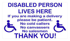 DISABLED PERSON LIVES HERE vinyl wall,car,van decal sticker