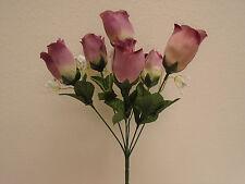 """3 Bushes MAUVE Rose Buds 6 Artificial Silk Flowers 13"""" Bouquet 599MV"""