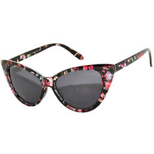 CAT EYE OWL SUNGLASSES SMOKE LENS GLASSES SHADES UV400  BLACK FLOWER FRAME