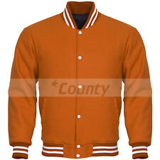 New Super Quality Bomber Varsity Letterman Baseball Jacket Orange Body Sleeves