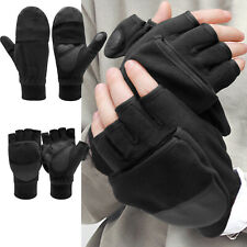 Men Winter Warm Fingerless Convertible Gloves Thermal Ski Photography Mittens US