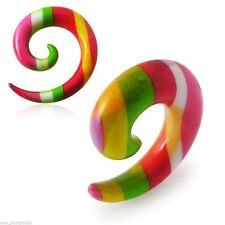 "PAIR-Tapers Spiral Colorful Stripes Acrylic 12mm/1/2"" Gauge Body Jewelry"