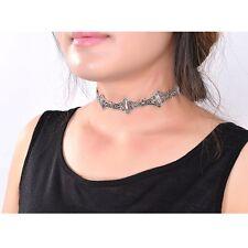Vintage Trial Silver Metal Bat Necklace Choker Collar Statement Women's Jewelry