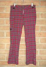 Red Plaid Punk Zipper Pants by Serious Womens Juniors 13