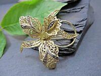 Vergoldete 835 Silber Brosche Jugendstil Art Deco Blume Blüte Markastit Filigran
