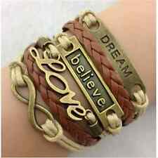 Popular Hot Infinity Love Anchor Believe Dream Bronze Leather Bracelet Gift FT74