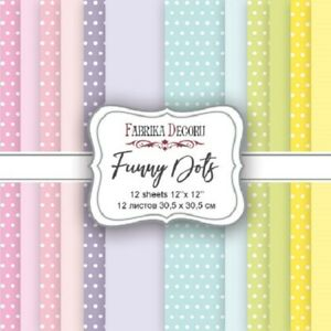 """12"""" x 12"""" scrapbooking paperpad cardstock Funny Dots 12 double sided sheets"""