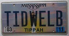 Mississippi 2011 VANITY License Plate TIDWELL B