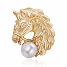 Hot Animals Gold Horse Pearl Printing Badge Breastpin Brooch Pin Women Jewelry