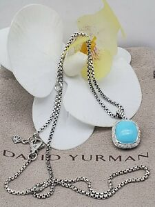 David Yurman Sterling Silver Noblesse w/Turquoise diamond pendant necklace