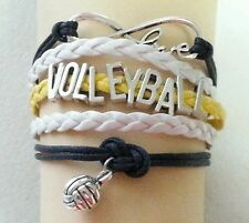 VOLLEYBALL LEATHER CHARM BRACELET-YELLOW/BLACK/WHITE-ADJUSTABLE-SPORTS-#15