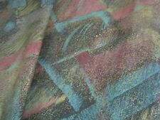 """VTG One yd KARBAILL IMPRESSIONIST Fabric  Black Canvas Upholstery 54""""x 36"""" BTY"""