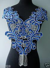BD13-3 Blue Sequin Beaded Applique Floral Fringed Bodice Motif Sew On Dancewear