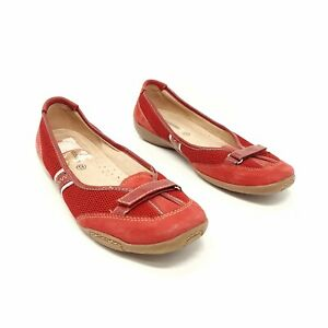 Naturalizer Red Flat Shoes Pumps UK 6 EU 39 Pull On Casual Walking Comfort