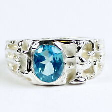 PARAIBA TOPAZ Sterling Silver Men's Ring, Handmade • SR197