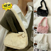 Women's Winter Plush Fur Shoulder Underarm Bag Soft Fluffy Warm Totes Handbag A+