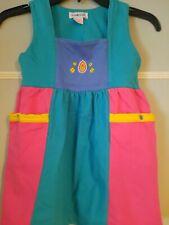 Vintage 90's Rainbow Label Gymboree Jumper Pink Teal Blue Yellow Pockets Snaps