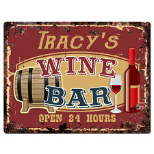 PWWB0108 TRACY'S WINE BAR OPEN 24Hr Rustic Tin Chic Sign Home Decor Gift