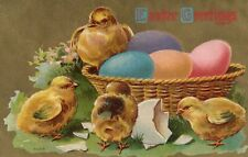 Gold Metallic Chicks Hatching In Basket Of Colored Eggs Easter Greeting Postcard