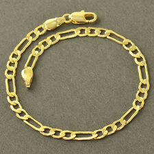 """Real Gold Filled Figaro Link Chain Womens Mens charm Bracelet 8.66"""" 3.5mm Thick"""