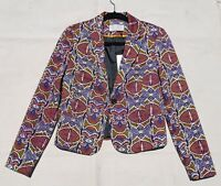 KAOS JEANS Womens BLAZER Cotton Multi Color Geometric Print Jacket Made in Italy