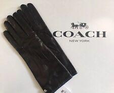 Coach Basic Leather Glove With Blue Trim 82821 Black Size 7