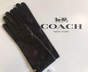 NWT Coach Women's Leather Glove With Blue Trim 82821 Black Size 7.5