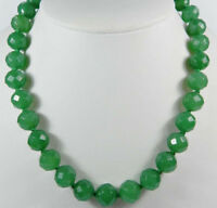 Stunning Long 20 inches Faceted 10mm Green Emerald Gemstone Round Beads Necklace