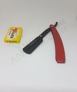 Rasiermesser inkl. 1 Packungen(5stk) Rasierklingen Rasierer Barbier Razor ROT