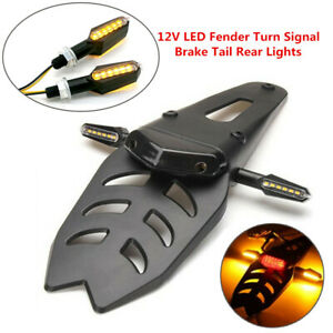 Motorcycle Dirt Bike LED Fender Turn Signal/Brake Lamp Tail Light with Bracket