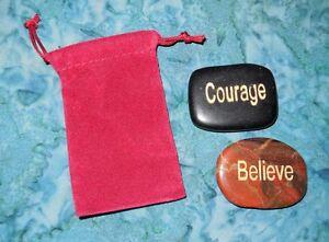 Believe & Courage Inspirational Meditation Gemstones Bag New Obsidian Red Jasper