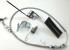 """Aluminum Throttle Gas Pedal Kit W/ 36"""" Stainless Braided Cable Rat Rod Hot Rod"""