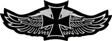 Patch - Iron Cross Wings Biker Black White Embroidered Iron On Patch 28010 Cool